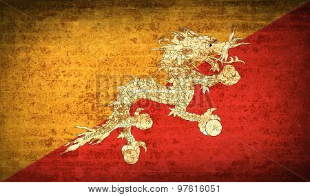 Flags Of Bhutan With Dirty Paper Texture. Vector
