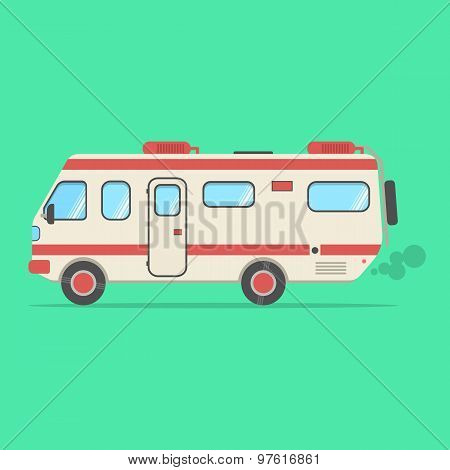 red and beige travel camper van isolated on green background