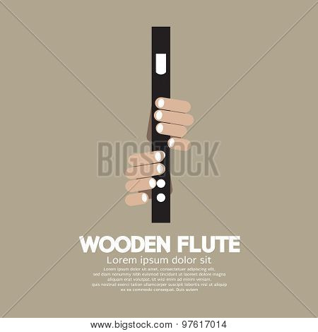 Wooden Flute With Hands.