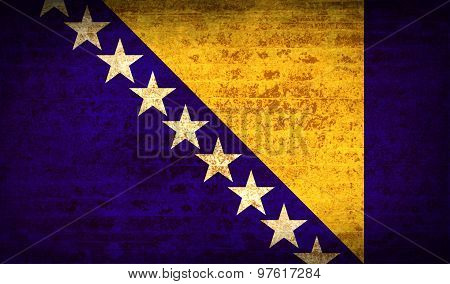 Flags Of Bosnia And Herzegovina With Dirty Paper Texture. Vector