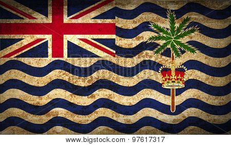 Flags British Indian Ocean Territory With Dirty Paper Texture. Vector