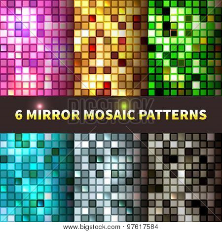 Bright set of shiny seamless mirror mosaic