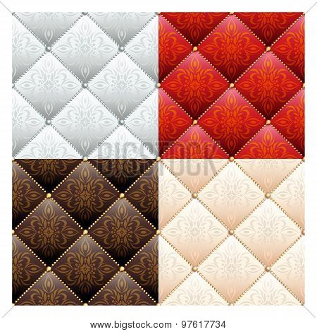 Set of 4 satin quilted seamless texture