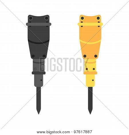 two hydraulic hammers in different colors