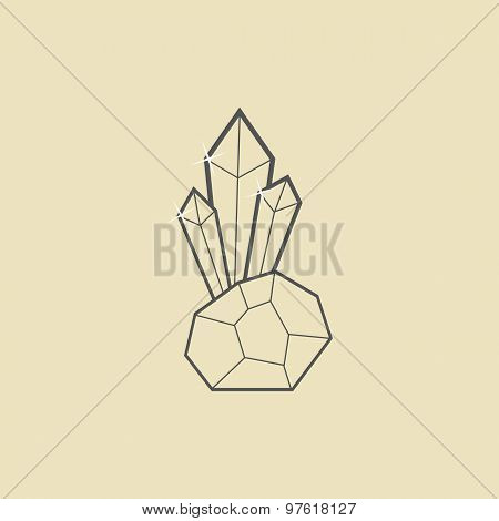 outline crystal with stone on dark yellow background