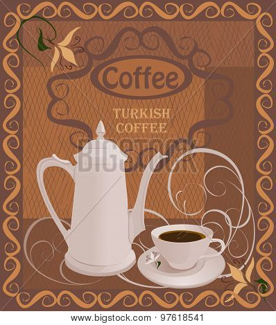 The composition with the coffeepot and a Cup of coffee on grunge background.