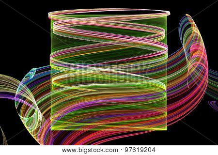 Fractal Image On A Black Background Are Rendered Colored Line In The Of A Whirlwind.