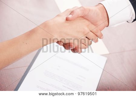 Colleagues shaking hands