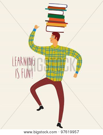 Cute Man With Books On His Head