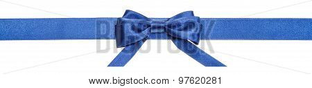 Blue Ribbon And Real Bow With Horizontal Cut Ends