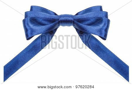 Symmetrical Blue Bow With Vertically Cut Ends