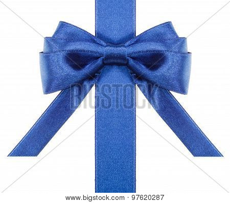 Blue Bow With Horizontal Cut Ends On Ribbon