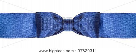 Symmetric Blue Bow Knot On Wide Silk Ribbon