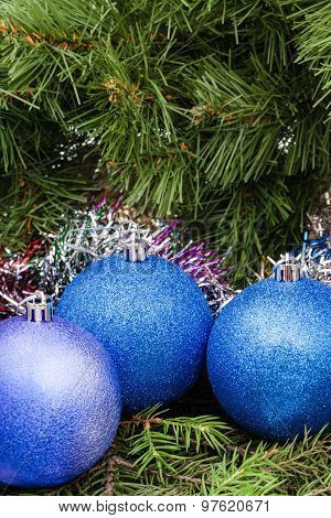 Blue, Violet Christmas Balls, Tinsel, Xmas Tree 3