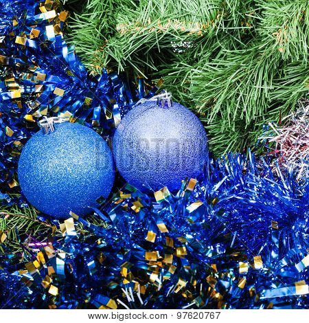 Blue Violet Christmas Baubles, Tinsel, Xmas Tree 6