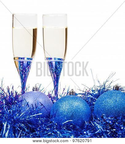 Glasses Of Wine At Blue And Violet Xmas Baubles