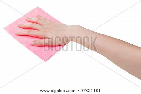 Hand With Pink Cleaning Rag Isolated On White