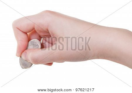 Hand With Used Rubber Eraser Close Up Isolated