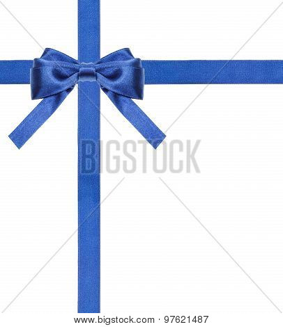 Blue Satin Bows And Ribbons Isolated - Set 13