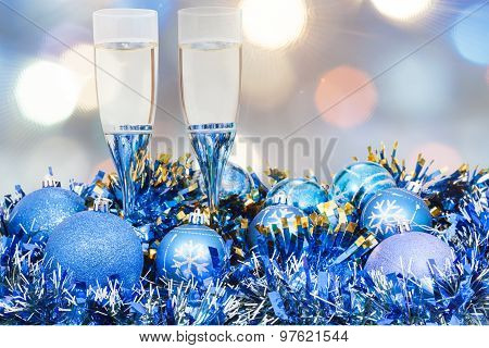 Glasses, Blue Xmass Balls On Blurry Background 6