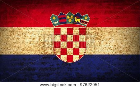 Flags Croatia With Dirty Paper Texture. Vector