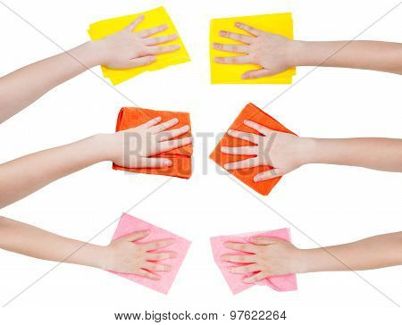 Set Of Hands With Various Rags Isolated On White