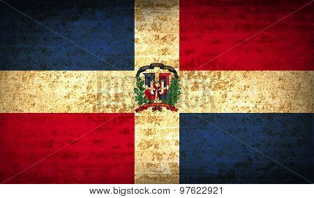 Flags Dominican Republic With Dirty Paper Texture. Vector