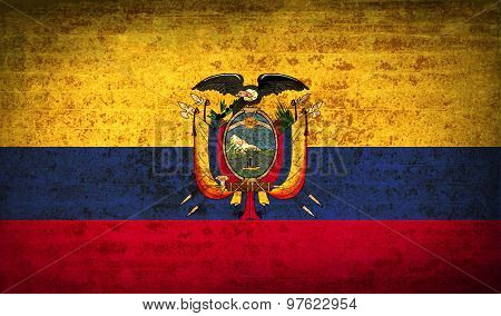 Flags Ecuador With Dirty Paper Texture. Vector