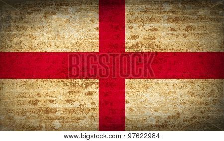 Flags England With Dirty Paper Texture. Vector