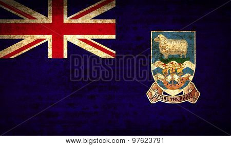 Flags Falkland Islands With Dirty Paper Texture. Vector
