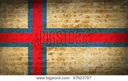 Flags Faroe Islands With Dirty Paper Texture. Vector