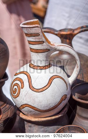Colorful Designed Clay Pottery Ceramic Vase On The Street Market