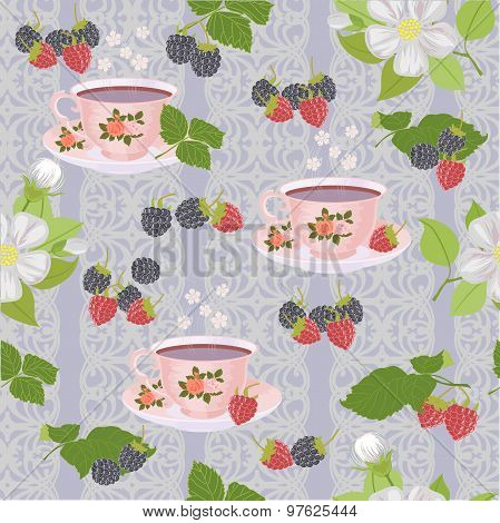 Appetizing a repeating pattern with cups, Apple blossoms and berries.