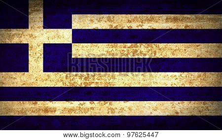 Flags Greece With Dirty Paper Texture. Vector