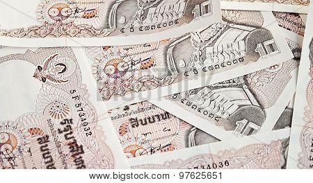 thai money banknotes ten baht closeup background