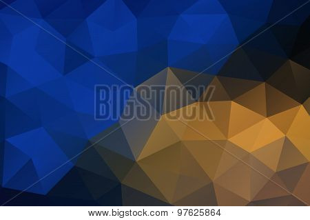 Blue Yellow Abstract Geometric Rumpled Triangular Background Low Poly Style
