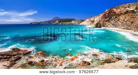 beautiful beaches of Greek islands- Milos, Cyclades