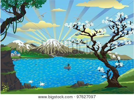 Landscape-cherry Blossoms Above The Lake [