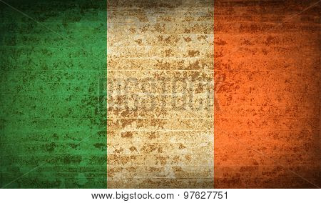 Flags Ireland With Dirty Paper Texture. Vector