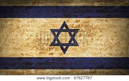 Flags Israel With Dirty Paper Texture. Vector