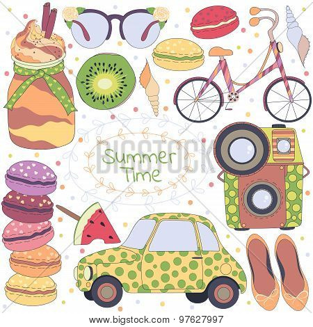 Summer time pattern:set of different travel,romantic things,summer,vacation holiday,fruits,summer th