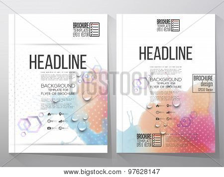 Abstract hand drawn watercolor background with place for text message. Brochure or flyer vector illu