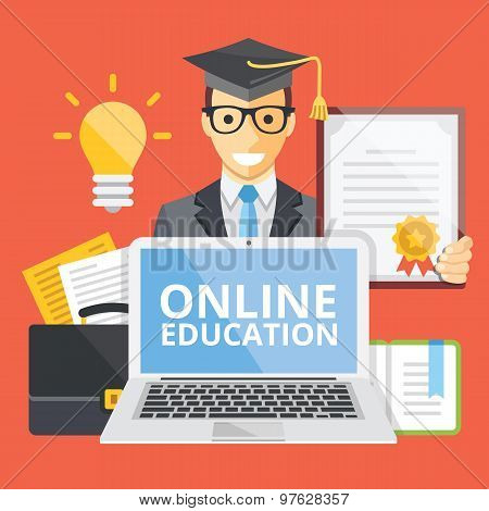 Online education flat illustration concept
