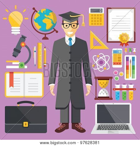 Modern education, student and educational equipment flat illustration, flat icons set