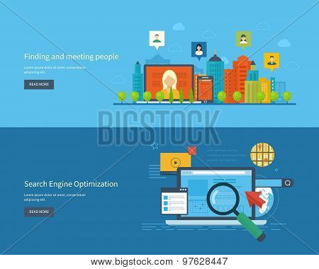 Set of flat design vector illustration concepts for finding and meeting people. Urban landscape.