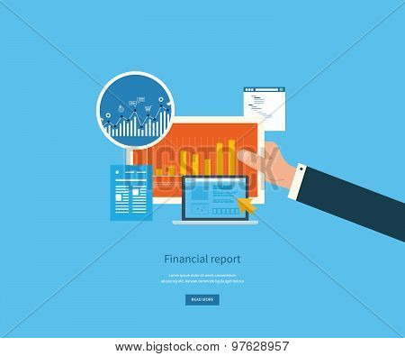 Flat design illustration concepts for business analysis, financial report, consulting, team work, pr