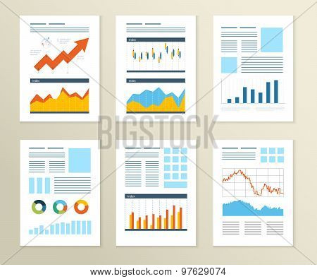 Set of Flyer, Brochure Design Templates. Financial report and financial strategy.