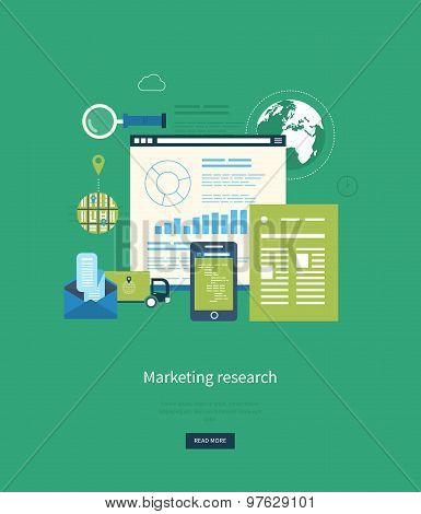 Flat design illustration concepts for business analytics and planning, consulting, programming, proj