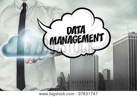 Data management text on cloud computing theme with businessman
