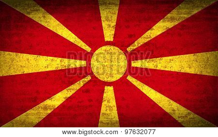 Flags Macedonia With Dirty Paper Texture. Vector